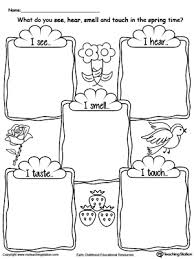 Spring Season Five Senses Worksheet kindergarten human body printable worksheets myteachingstation com on kindergarten printable worksheets