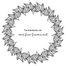 白黒の楓の葉っぱイラストの円形フレーム枠 無料商用可能枠
