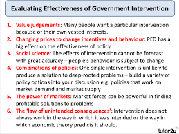analysing and evaluating government intervention economics evaluating government intervention in markets