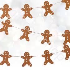 wooden gingerbread man bunting garland hanging vintage xmas decoration