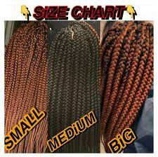 Box Braids Size Chart Ilyidella In 2019 Braided