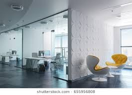 modern interior office. Simple Office 3d Modern Office Interior Render With