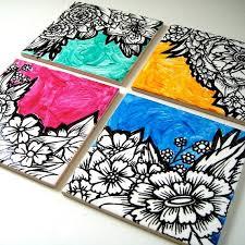 ceramic coasters art tiles painted black and white by sewzinski 48 00