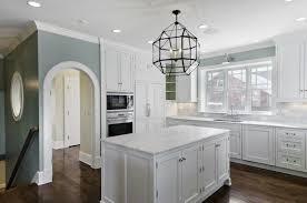 blue gray kitchen white cabinets trendyexaminer