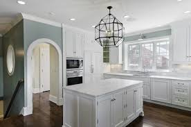 blue gray kitchen white cabinets trendyexaminer