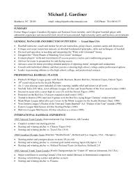 Professional Baseball Player Resume