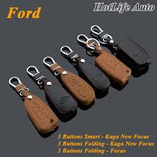 genuine leather car key case smart key fob cover keychain fits for ford kuga focus new focus folding car key rings key chain car door key replacement car