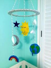 moon and stars baby mobile nursery gender neutral sun set