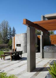 modern concrete patio designs. Modern Concrete Patio Designs With Outdoor Dining Wood Beam Rock Landscape I