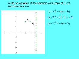 9 write the equation of the parabola with focus at 2 2 and directrix x 4 f v