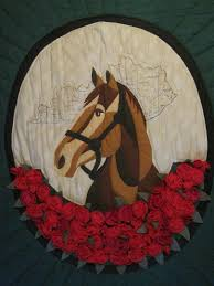 donna sharp quilt run for the roses cky derby applique wall hanging 49 x 60 1865637711
