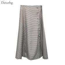 Japanese Style Vintage Plaid Long Skirt For Women Streetwear ...