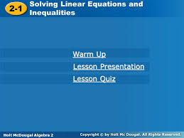 2 1 solving linear equations and inequalities warm up