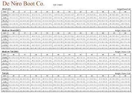 Deniro Boot Size Chart Deniro Boot Size Chart Custom Deniro Boots