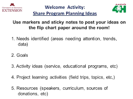 Welcome Activity Share Program Planning Ideas Use Markers