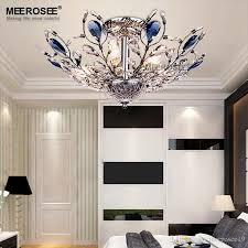 2016 new ceiling light luxurious blue color crystal flush mounted light ing golden color lamp res