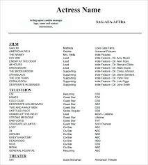 Sample Acting Resume Sample Acting Resume Template Format Best