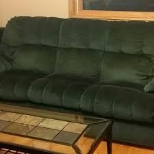 Berkline Hunter green Couch w/Pullout Bed,&matching Loveseat w/2 built in