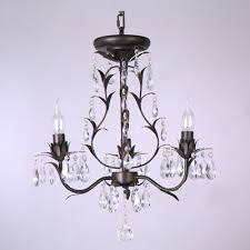 gracefully black wrought iron leaf arms 3 light stunning crystal droplets chandelier