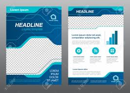 Layout Flyer Template Size A4 Cover Page Blue Line Art Vector