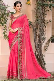 Kalaniketan Designer Sarees Temple Wear Chiffon Pink Color Saree With Fancy Print