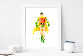 robin print superhero robin batman watercolor nursery art bedroom dc comics marvel kids decor
