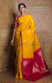 Designer Kanjeevaram Sarees Pure Handloom Kanjivaram Saree In Turmeric Yellow And Rani