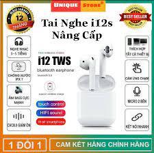 Tai Nghe Bluetooth Không Dây i12s Bản Plus Âm Thanh v5.0 Nút Cảm Ứng, Tai