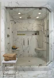 White marble shower contemporary-bathroom