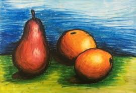 Aaron - Still life fruits, Soft pastel on A3 paper | Crestar Learning Centre