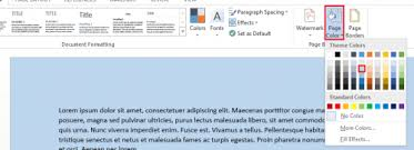 Small Picture How to change color of Word 2013 document page