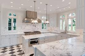 White Kitchen with Black and White Harlequin Tile Floor