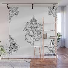 ganesha black and white tile wall mural