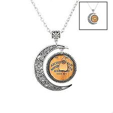 charm crescent moon monogram ouija board initial pendant necklace persona silver