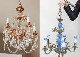 copper spray paint chandelier