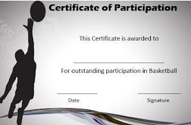 Basketball Certificate Of Participation Basketball Certificate