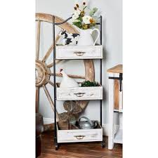 distressed white decorative 3 tier tray stand with antique handles