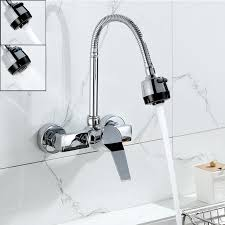 Wall Mounted Stream Sprayer Kitchen Faucet Single Handle Chrome