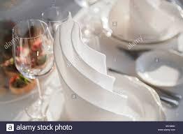 Napkin In Glass Design Restaurant Table With White Napkin Sandwich Glasses Elegant