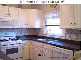 painted white kitchen cabinets before and after. Purple Painted Lady Chalk Paint White Kitchen Cabinets Before And After E