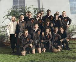 hand colored team portrait of the osu rugby club 1964 1965