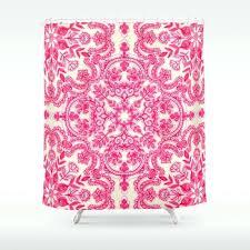 hot pink shower curtain hot pink soft cream folk art pattern shower curtain by hot pink hot pink shower curtain