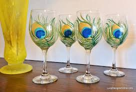 view in gallery peacock feather hand painted wine glass