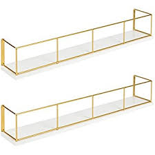 Gold Floating Shelves Beauteous Amazon Kate And Laurel Benbrook 32Pack Wood Metal Floating Wall