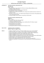 Senior Systems Administrator Resume Samples Velvet Jobs