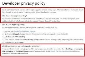 google play developer privacy policy highlight requirements