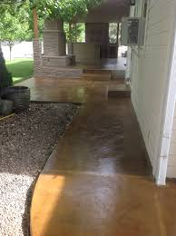 stained concrete patio gray. Coffee Brown Acid Stain On Smooth Gray Concrete Overlay. Desert Theme Patio Stained