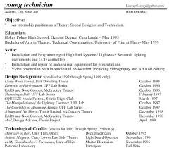 Tech Theatre Resume Technical Theatre Resume Guide