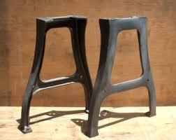 Vintage Industrial Metal Factory Table Legs / PAIR / Set of 2 / Raw Steel /