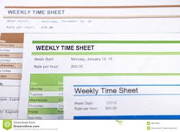 Weekly Time Sheet Forms For Payroll Stock Image Image Of Employee